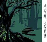 dark forest. retro background.... | Shutterstock .eps vector #338834846