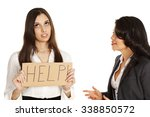 """Small photo of Series of shots demonstrating lack of communication. One woman holds 'help' sign while being """"barked"""" at by another woman showing frustration and anger. Various demonstrative poses."""