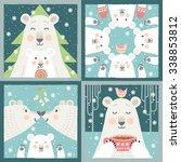 set of four christmas designs... | Shutterstock .eps vector #338853812