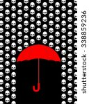 rain of skulls. umbrella... | Shutterstock .eps vector #338859236