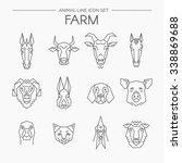vector linear set of farm... | Shutterstock .eps vector #338869688