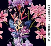 tropical  floral  blossoming ... | Shutterstock . vector #338886695