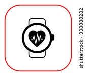 icon of watch with heart rate... | Shutterstock .eps vector #338888282