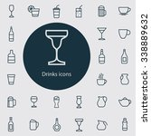 drinks outline  thin  flat ... | Shutterstock . vector #338889632