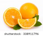 fresh orange isolated on white... | Shutterstock . vector #338911796