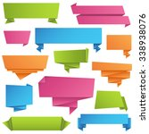 origami banners set   colorful... | Shutterstock .eps vector #338938076