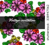 invitation with floral... | Shutterstock . vector #338947562