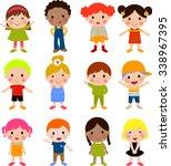 cute children cartoon collection | Shutterstock .eps vector #338967395