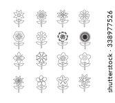 flower icon set for website | Shutterstock .eps vector #338977526