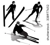 set of ski silhouettes on the... | Shutterstock .eps vector #338977652