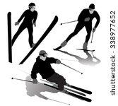 set of ski silhouettes on the... | Shutterstock .eps vector #338977652