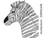 hand drawn zebra zentangle...   Shutterstock .eps vector #338981648