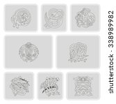set of monochrome icons with...   Shutterstock .eps vector #338989982
