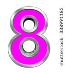 one digit from pink with chrome ... | Shutterstock . vector #338991182