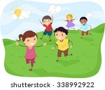 stickman illustration of kids... | Shutterstock .eps vector #338992922