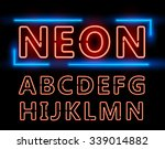 red neon double stroke alphabet ... | Shutterstock .eps vector #339014882