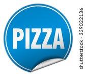 pizza round blue sticker... | Shutterstock .eps vector #339022136