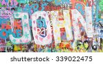 Small photo of PRAGUE, CZECH REPUBLIC - NOVEMBER 27: The Lennon Wall since the 1980s is filled with John Lennon-inspired graffiti and pieces of lyrics from Beatles songs on Nov 27, 2014 in Prague, Czech Republic