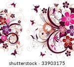 grunge flower background with... | Shutterstock .eps vector #33903175