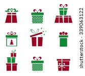 christmas presents. vector set. ... | Shutterstock .eps vector #339063122