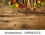 various colorful spices on... | Shutterstock . vector #339063215