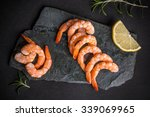 top view of shrimps on black... | Shutterstock . vector #339069965