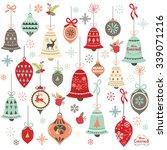 vintage christmas bell design... | Shutterstock .eps vector #339071216