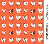 sketch cat face seamless... | Shutterstock .eps vector #339079472