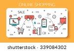 online shopping outline concept ... | Shutterstock .eps vector #339084302