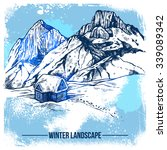 sketch of winter landscape with ... | Shutterstock .eps vector #339089342