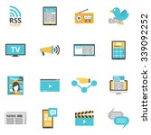 mass media icons set with press ... | Shutterstock .eps vector #339092252