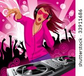 Vector image of beautiful DJ girl and people dancing at a party - stock vector