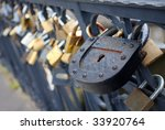 Large Iron Lock On A Bridge