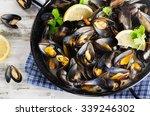 Copper Pot Of Gourmet Mussels...