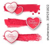 pink and white paper hearts... | Shutterstock .eps vector #339251822