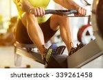 Fit Man Training On Row Machin...