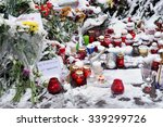 Small photo of MOSCOW - NOV 15: People lay flowers and light candles in fron of the Embassy of France in Moscow after act of terrorism in Paris (13.11.2015) on November 15. 2015 in Russia