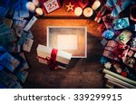 open gift box with a blank... | Shutterstock . vector #339299915