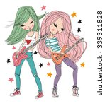 star girls playing guitar. | Shutterstock .eps vector #339311828