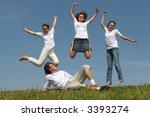 three nice girls jump on a... | Shutterstock . vector #3393274