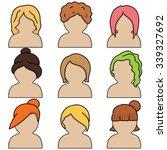 vector set of woman hair styles | Shutterstock .eps vector #339327692