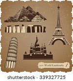 sepia set of vector icons of... | Shutterstock .eps vector #339327725