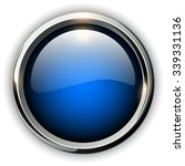blue shiny button with metallic ... | Shutterstock .eps vector #339331136
