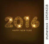 shiny golden text 2016 on shiny ... | Shutterstock .eps vector #339354218