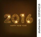 shiny golden text 2016 on shiny ... | Shutterstock .eps vector #339354218