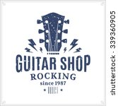 retro styled guitar shop logo... | Shutterstock .eps vector #339360905