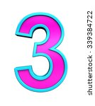 one digit from pink glass with... | Shutterstock . vector #339384722