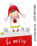 greeting card  be merry.... | Shutterstock .eps vector #339385586