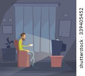 man sitting watching tv home... | Shutterstock .eps vector #339405452