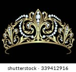 gold diadem with diamonds on... | Shutterstock .eps vector #339412916